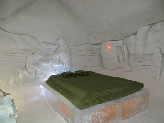 At Hotel de Glace in Quebec, Canada, even the beds are made of ice.