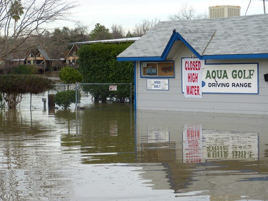 Aqua Golf off Park Marina Drive was submerged in water Monday afternoon.