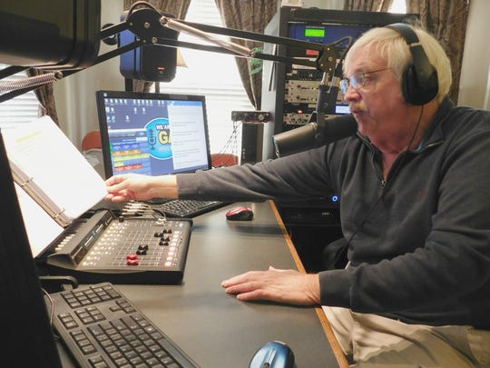Gary Kline speaks on air from the studio of WRGG, a local radio station in Greencastle, on Friday, Feb. 10, 2017.