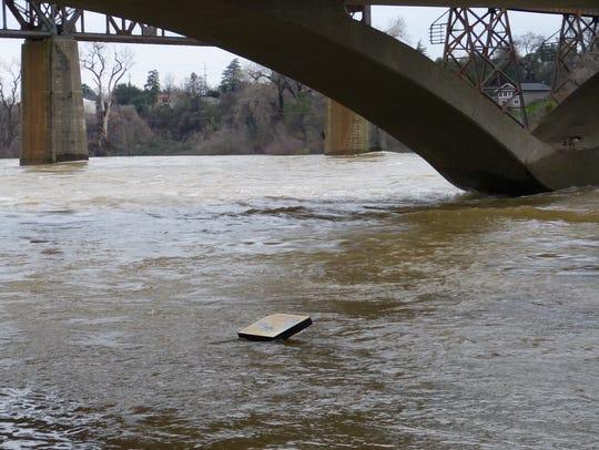 An information alongside a usually dry Sacramento River