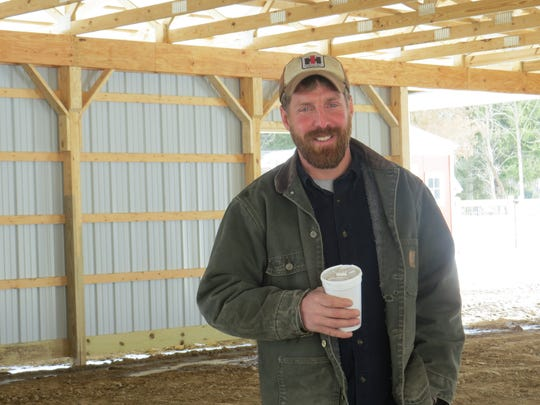 Tor Andersen of Andersen Farms in Sussex County, the state's 2017 Outstanding Young Farmer, stands inside his new farm stand in Sparta.