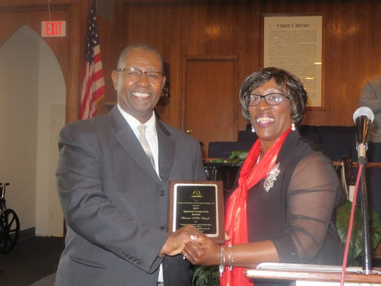 Pastor Willie Boyle, seen here with Ms. Deborah Gipson, was recognized with the Spiritual Leadership Award.