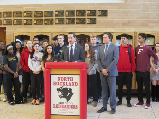 Assemblyman Ken Zebrowski and Assemblyman James Skoufis at North Rockland High School announcing a proposal to help the district fund a debt.