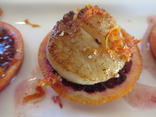 Seared scallops with blood orange vinaigrette by Chef Celia Casey/