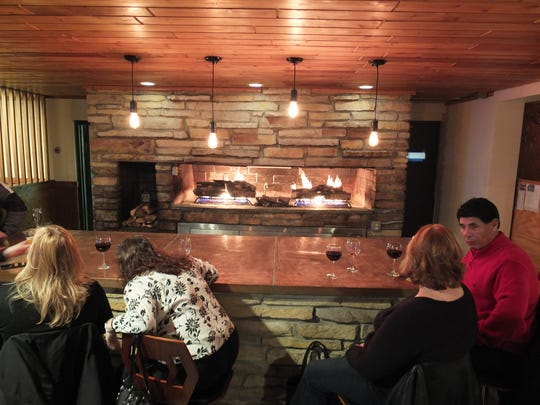 The largest fireplace at Three Cellars in Oak Creek