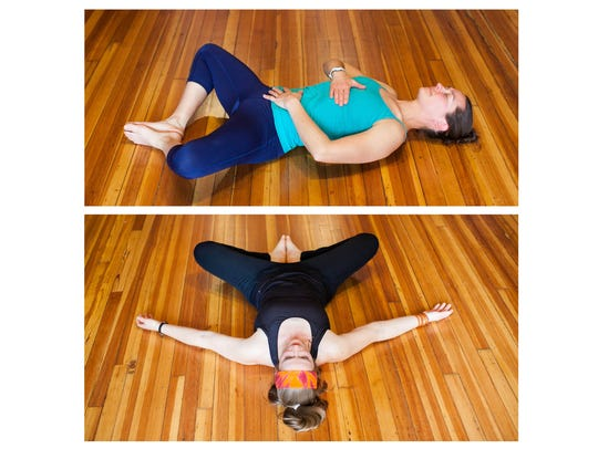Recline bound angle, demonstrated by Amy Sipe, top,