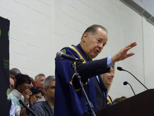 Former New Jersey Gov. Thomas Kean delivers his commencement address at 2017 graduation of Raritan Valley Community College on Saturday in Branchburg.