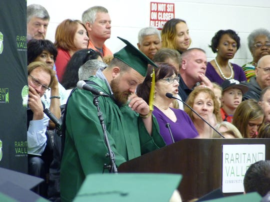 Joseph Hamilton, who lives in Fanwood but is formerly from Bridgewater, gives the student commencement speech at the end of the 2017 Raritan Valley Community College graduation Saturday in Branchburg.