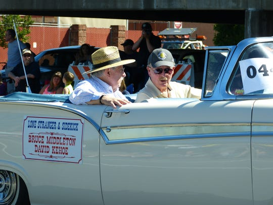 Shasta County Supervisor David Kehoe, left, and businessman Bruce Middleton were the Lone Stranger and Sidekick for Redding Rodeo Week in 2017.