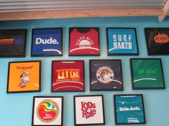 Some of the t-shirts for sale at Boonton's Tito's Burritos.