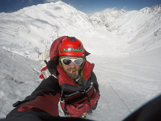 Jim Davidson at 23,200 feet on his way toward the summit