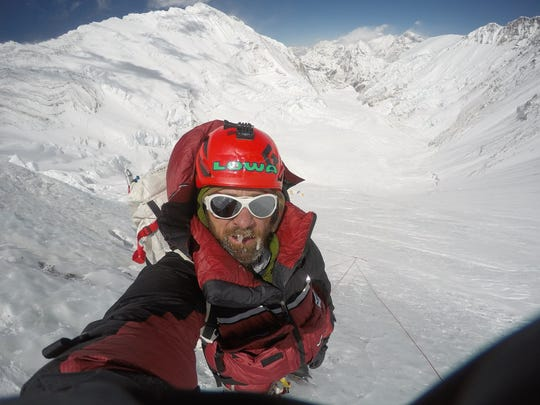 Jim Davidson at 23,200 feet on his way toward the summit of Mount Everest.