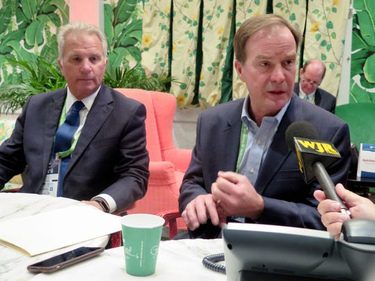 Michigan Attorney General Bill Schuette, right, and Genesee County Prosecutor David Leyton speak with reporters after Schuette announced a new state opioid unit at the Mackinac Policy Conference on Wednesday, May 31, 2017, on Mackinac Island. The four-person Opioid Trafficking and Interdiction Unit is designed to help local authorities target the supply of prescription drugs from dealers and doctors who are overprescribing.