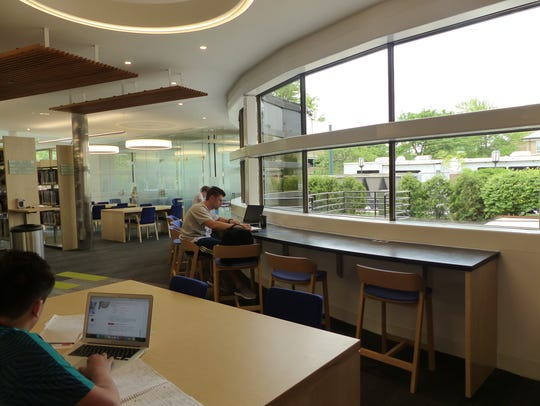 New windows allow natural light to flow into the library