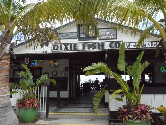 Dixie Fish Co. occupies an 80-year-old former fish market on the San Carlos Island waterfront of Fort Myers Beach.