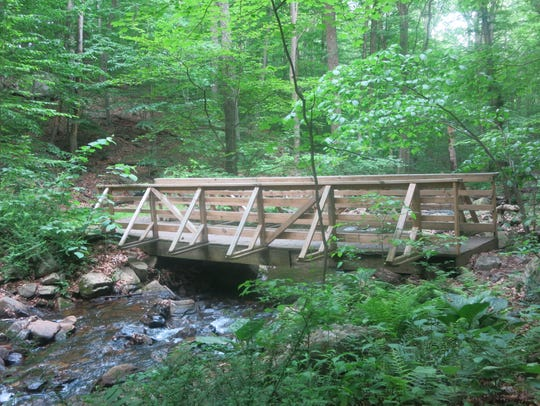 The footbridge that carries the Patriots' Path over