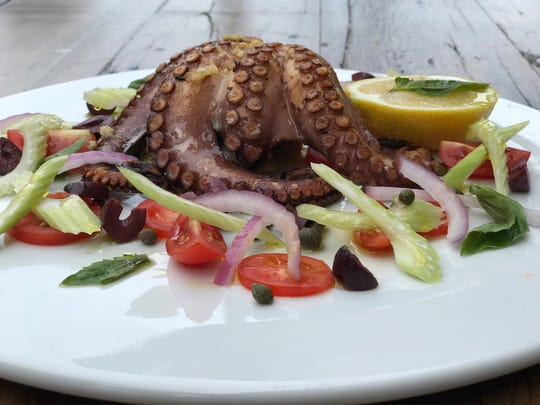 The seared baby octopus at Izzy's Pizzeria in Edgewater.