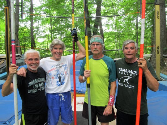 (From left) Howard Booth of Dexter Township, Jim Roth of Hartland, Matti Kilpelainen of Canton and Terry Woodward of Brighton still compete in the pole vault in their 60s, 70s and 80s.
