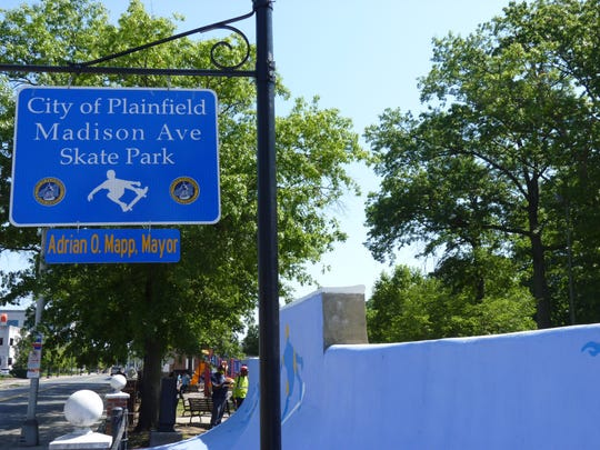 The sign for the Madison Avenue Skate Park in Plainfield,