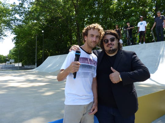 Professional skateboarder Ron Deily, left, with Haralambos