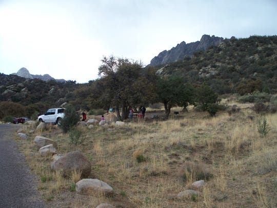 Pictured is Aguirre Springs campground. Campsites for