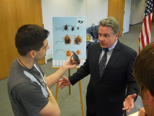 Rep. Chris Smith (right) at a Lyme disease press conference
