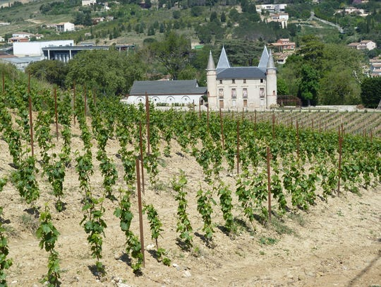 Vineyard and chateau outside Limoux, Western Languedoc.