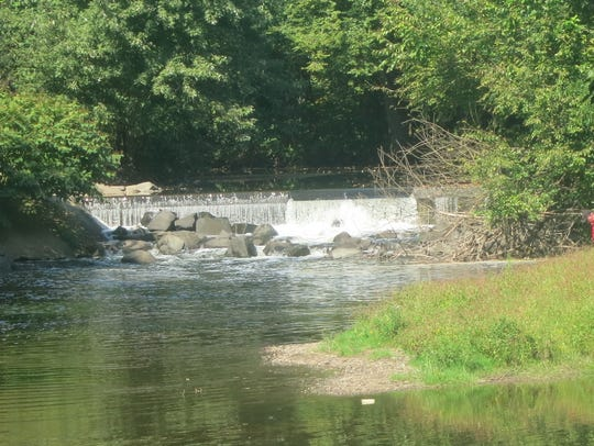 A small dam across the Saddle River.