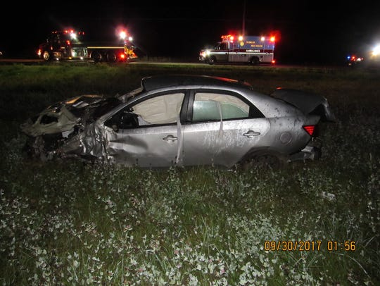 This photo shows the damage to a Kia Forte, from which
