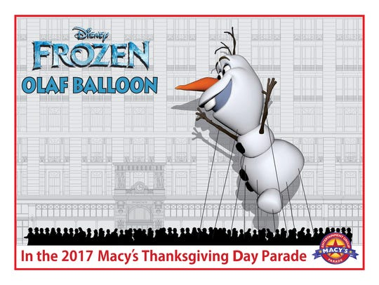 The official rendering of the 'Frozen' Olaf balloon