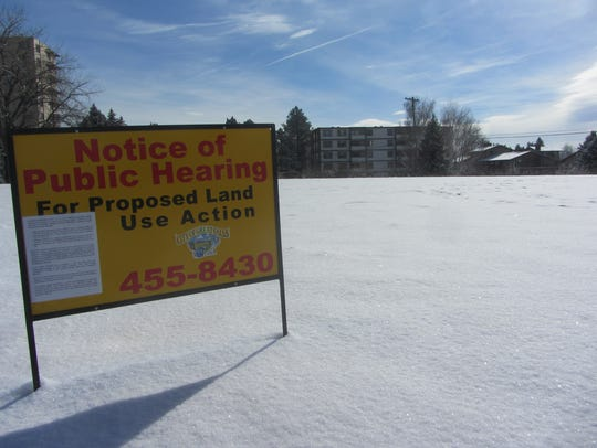 A notice to the general public marks the proposed site for construction of the new 95-room MainStay Suites hotel in Great Falls,: TRIBUNE PHOTO/DAVID MURRAY
