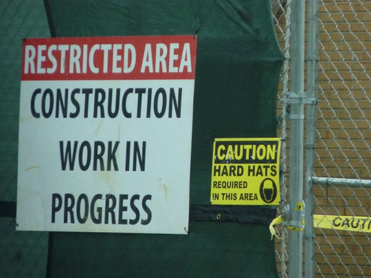 Caution signs at the New Jersey American Water construction site in Plainfield.