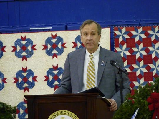 Manville Mayor Richard Onderko speaking at the Wreaths Across America event.