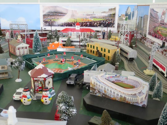 The Holiday Train Show in Bordentown gets festive with snowmen a the ballpark.