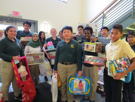 Middle School students visited the Giving Tree, from