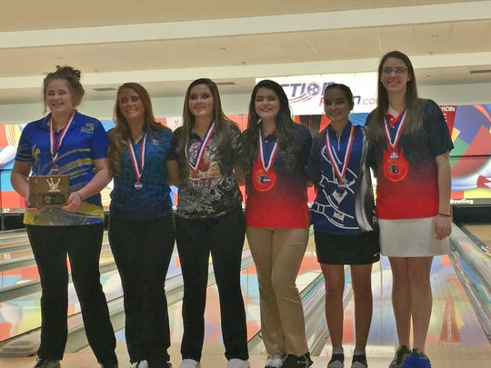 The six Division I girls bowlers in the finals included