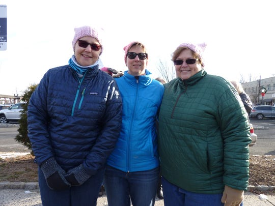 From left: Loreli Stochaj, of Bridgewater, Jodi Anderson, of Westfield, and Chris Carswell, of Bridgewater, at the second annual Westfield Women's March.