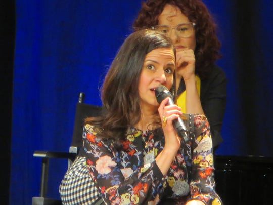 "Mandy Gonzalez speaks during ""¡Atención! In the Heights Reunites 10 Years Later"" at BroadwayCon 2018, held from Jan. 26 to 28, 2018, at the Javits Center in Manhattan."