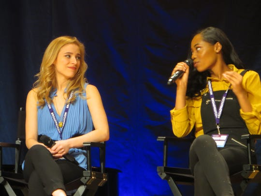 "Christy Altomare and Hailey Kilgore take part in ""Journey to the Island: A Celebration of Ahrens and Flaherty"" during BroadwayCon 2018, held from Jan. 26 to 28, 2018, at the Javits Center in Manhattan."