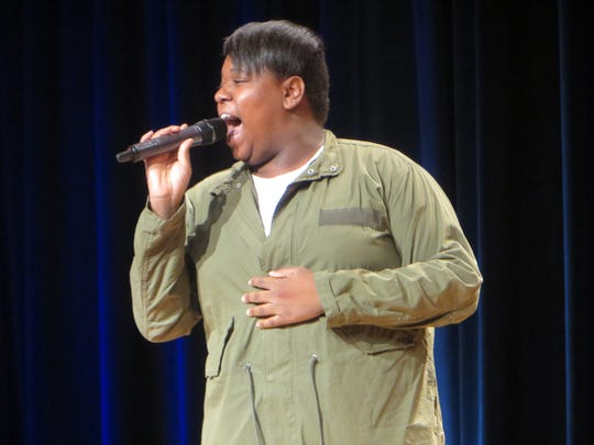 "Alex Newell performs during ""Journey to the Island: A Celebration of Ahrens and Flaherty"" during BroadwayCon 2018, held from Jan. 26 to 28, 2018, at the Javits Center in Manhattan."