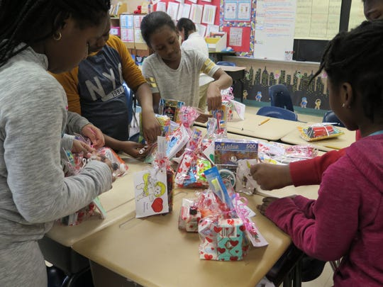 Students at Elmwood Elementary in Monsey prepare Valentines for Vets, to be delivered to the VA Center in Montrose.