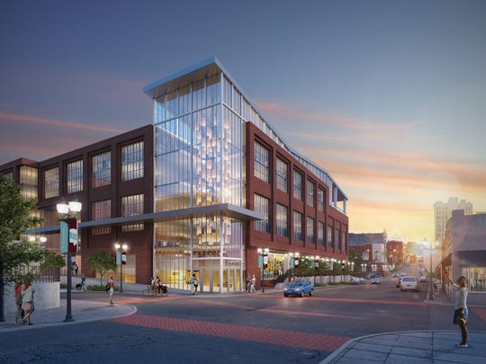 The Vecino Group released this rendering in late February 2018 that shows a large multi-story office complex with street-level commercial space along Boonville Avenue and Phelps Street in downtown Springfield. It would stand on the footprint of Touché Nightclub, which announced April 28, 2018 that it would close in four to six weeks.