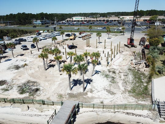 A look toward U.S. 98 at the future site of Dewey Destin's Seafood Restaurant at 8673 Navarre Parkway in Navarre. The family owned Destin-based seafood operation is building a restaurant at the Navarre site to the east of the Navarre Beach Causeway and is aiming to open by Memorial Day.