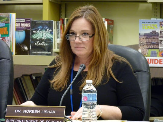 South Plainfield School District Superintendent Noreen Lishak at a Board of Education meeting Thursday night discussing the punishment for students who walked out on Wednesday morning during the national walkout movement in solidarity with Parkland, Florida.