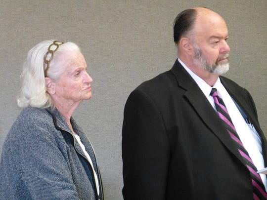 Betty Sanders and attorney Russell Swartz are shown Monday in Shasta County Superior Court for her arraignment.