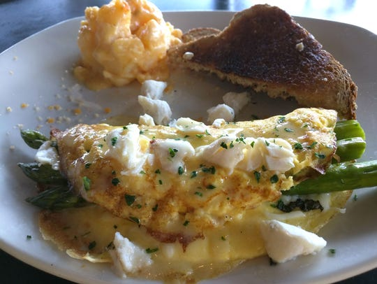 Bonefish Grill's the Oscar omelet with asparagus, crab,