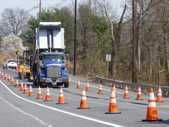 Cones set up around the construction equipment at the final stage of the Route 206 bypass in Hillsborough between Hamilton and Opie roads.