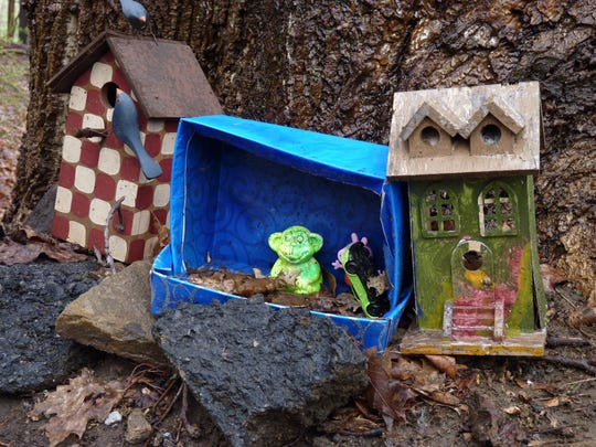 Gnome homes on Columbia Trail in High Bridge.