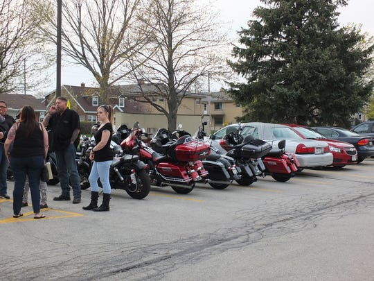 Motorcycles filled the Cudahy City Hall parking lot