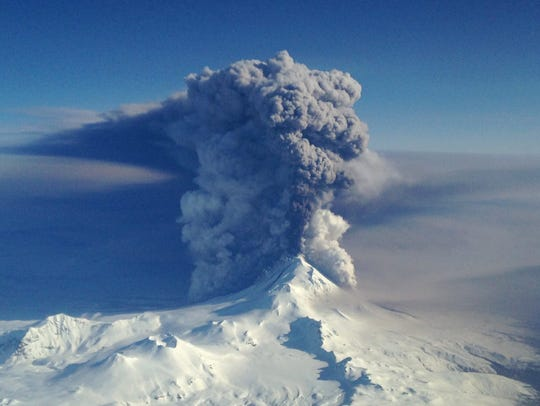 Pavlof Volcano in eruption on March 28, 2016.
